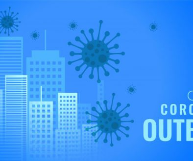coronavirus outburst infecting cities buildings concept banner